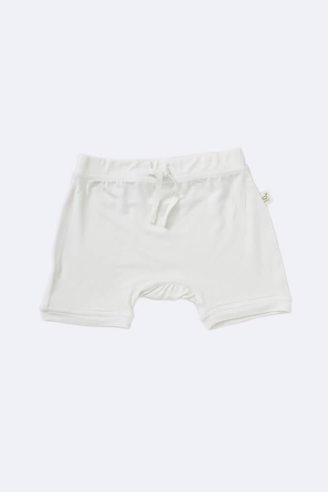 Boody Baby Pull On Shorts - organic bamboo baby & toddler shorts in chalk colour.