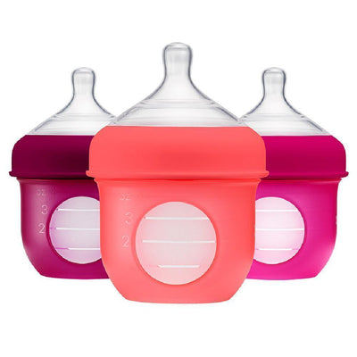 4 oz / Pink/Purple Boon NURSH Silicone Baby Bottle - 3-Pack - Naked Baby Eco Boutique