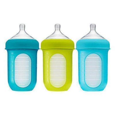 8 oz / Blue/Green Boon NURSH Silicone Baby Bottle - 3-Pack - Naked Baby Eco Boutique