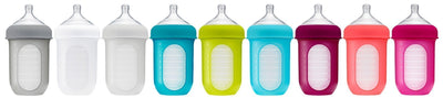 4 oz / Blue/Green Boon NURSH Silicone Baby Bottle - 3-Pack - Naked Baby Eco Boutique