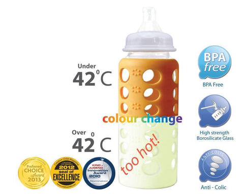 Cherub Baby Glass Baby Bottles have a silicone colour-change sleeve to warn if the liquid inside is too hot to drink
