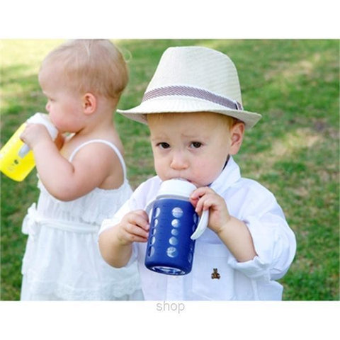 Little kids drinking from the 240ml glass wide-neck baby bottle using Cherub Baby Sippy Cup Adaptor