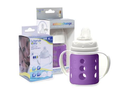 Cherub Baby Glass Baby Bottle - Twin Pack (Multiple Colours & Sizes)