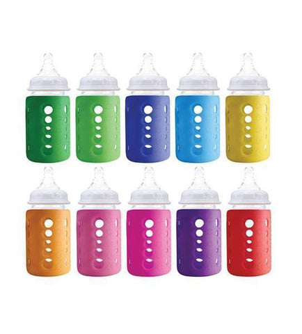 Cherub Baby Glass Baby Bottles shown in a rainbow of colours