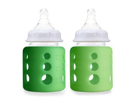 Cherub Baby Wide-Neck Glass Baby Bottles - 150 ml - Twin Pack - Dark Green & Light Green