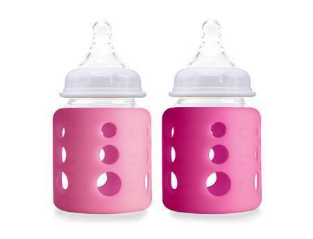 Cherub Baby Wide-Neck Glass Baby Bottle - 150 ml - Twin Pack - Dark Pink & Light Pink
