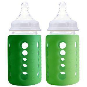 Cherub Baby Glass Baby Bottle - 240 ml - Twin Pack - Dark Green & Light Green