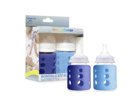 150 ml / Dark Blue & Light Blue Cherub Baby Glass Baby Bottle - Twin Pack (Multiple Colours & Sizes) - Naked Baby Eco Boutique