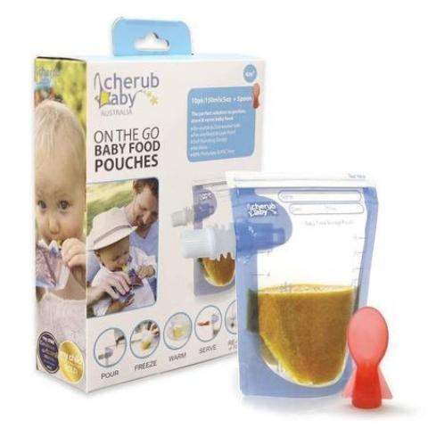 Cherub Baby On the Go Reusable Baby Food Pouches - 10 Pack - Naked Baby Eco Boutique