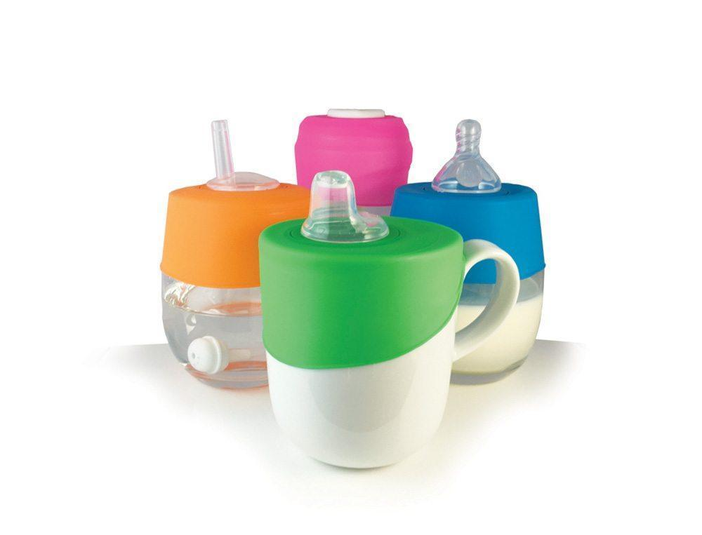 Blue/Green Cherub Baby Sip N Clip Universal Straw & Sippy Cup Lid - Naked Baby Eco Boutique