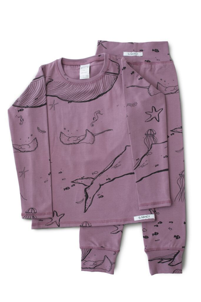Jelly / 9-18 Months G.NANCY Organic Cotton Under the Sea Long Sleeve Pajama Set - Naked Baby Eco Boutique