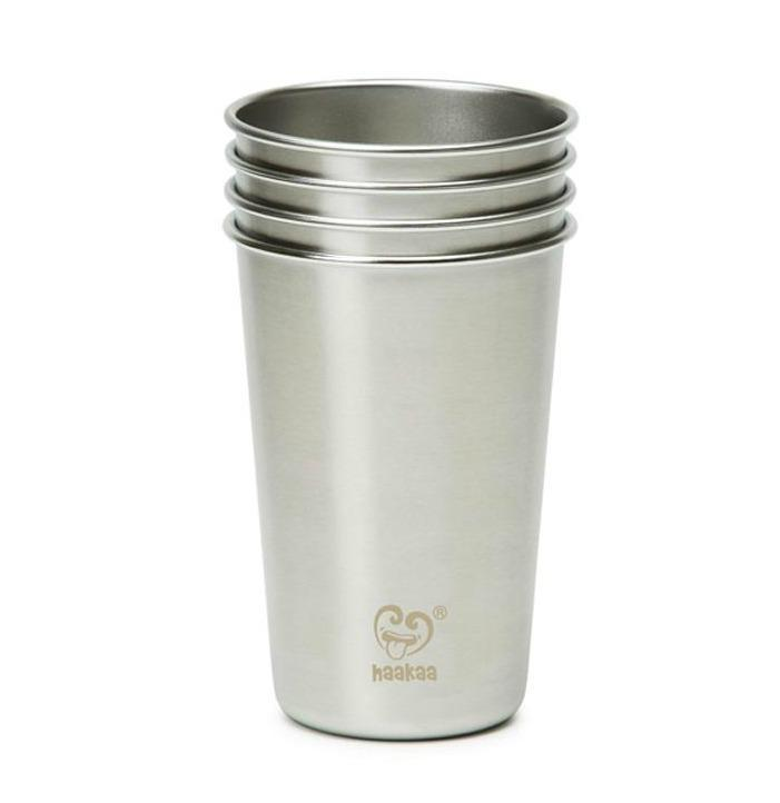 300 ml / Blue Haakaa Stainless Steel Cups - 4-Pack (Multiple Sizes) - Naked Baby Eco Boutique