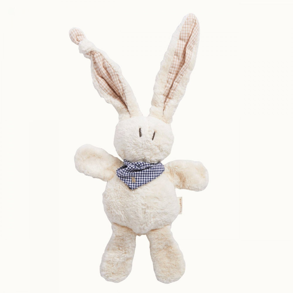 Keptin-Jr Organic Cotton Tjumm Bunny Shawl with blue gingham ears and scarf