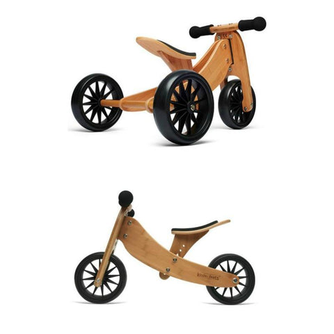 Kinderfeets Tiny Tots 2-in-1 Tricycle/Balance Bike in Bamboo view of trike and balance bike