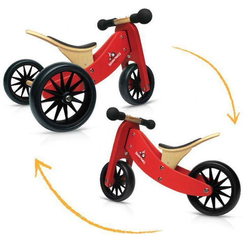 Kinderfeets Tiny Tot Tricycle/Balance Bike - Red - Naked Baby Eco Boutique - New Zealand Eco Friendly Organic Baby Products - 4