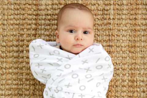 Baby Wrapped in Kitty & Sparrow Tic Tac Toe Blanket - Naked Baby Eco Boutique - New Zealand Eco Friendly Organic Baby Products - 1