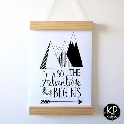 "KP Designs A4 ""Adventure Begins"" Print - Naked Baby Eco Boutique"
