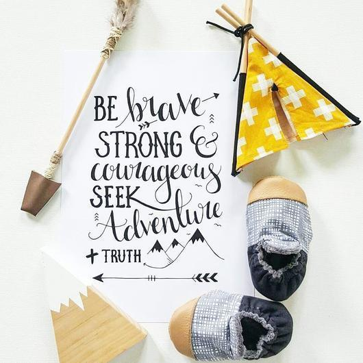 "KP Designs A4 ""Be Brave"" Print - Naked Baby Eco Boutique"