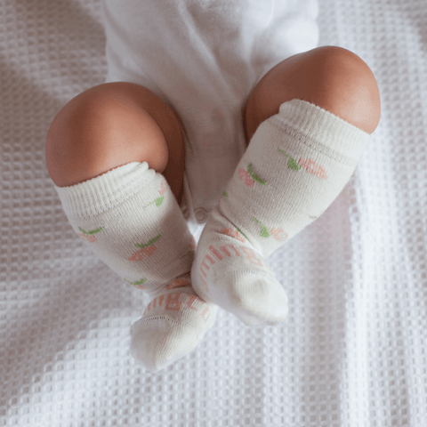 Premie / Rosie (Neutral/Roses) Lamington Merino Wool Socks - Newborn Naturals (Multiple Patterns) - Naked Baby Eco Boutique