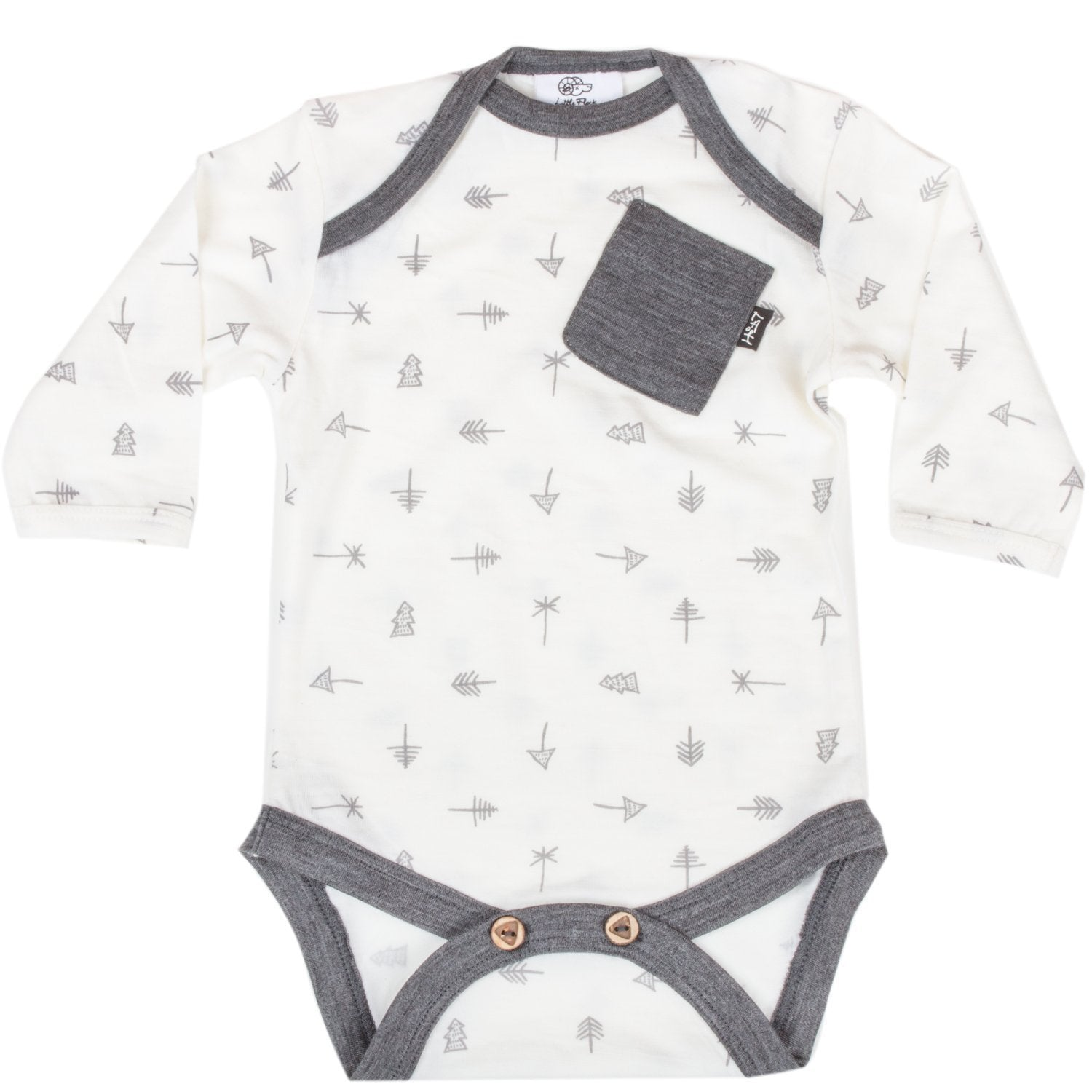 Winter White Trees (White & Grey) / 0-3 Months Little Flock of Horrors Merino Wool Boss Onesie - Naked Baby Eco Boutique