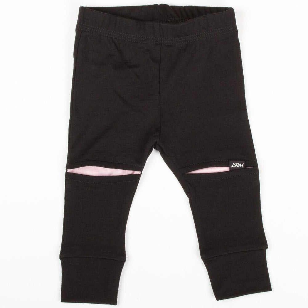 Little Flock of Horror Merino Wool Slasher Baby Pants in Black with Dusky Rose Knees