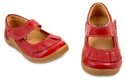US Size 7 (15 cm) Livie & Luca Red Ruche Shoe - Naked Baby Eco Boutique