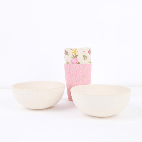 Lifestyle shot of the Love Mae Pink Flower & Bird Bamboo Bowls with tumblers