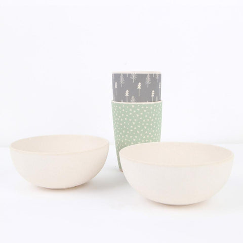 Lifestyle shot of the Love Mae Bamboo Fox & Grey Bird Bowls with tumblers