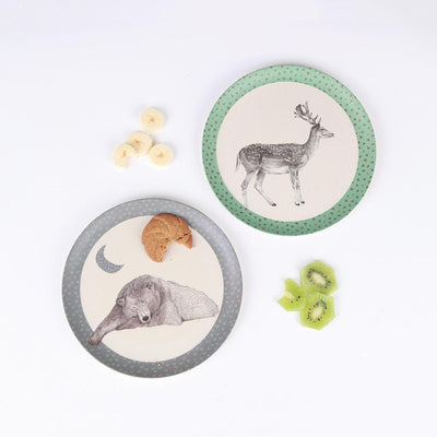 Bear & Deer - 2 Plates Love Mae Small Bamboo Plates - Naked Baby Eco Boutique