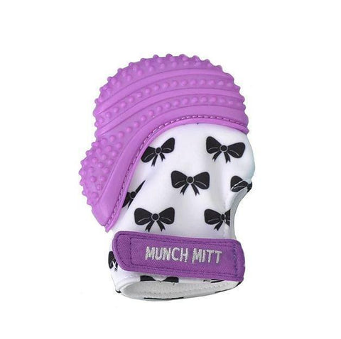 Purple Bows Malarkey Munch Mitt Baby Teether - Naked Baby Eco Boutique