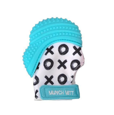Blue X's & O's Malarkey Munch Mitt Baby Teether - Naked Baby Eco Boutique