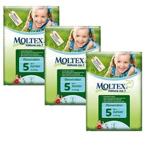 Moltex Junior Nappies - Size 5 (11-25 kg) - Bulk 3-Pack (96 Nappies) - Naked Baby Eco Boutique