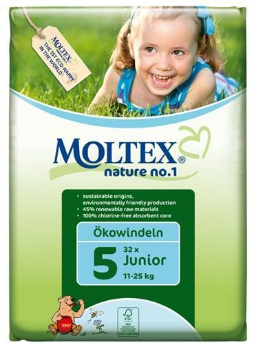 Moltex Junior Nappies - Size 5 (11-25 kg) - Single Pack (32 Nappies) - Naked Baby Eco Boutique