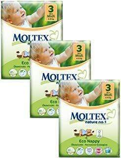Moltex Midi Eco-Friendly Disposable Nappies - Size 3 (4-9 kg) - 3-Pack (102 Nappies) - Naked Baby Eco Boutique