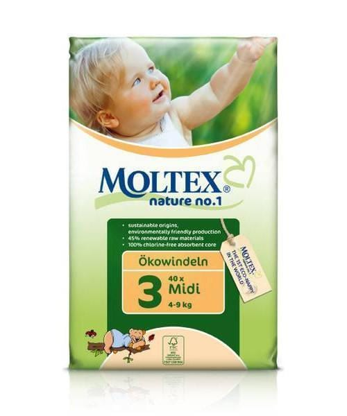 Moltex Midi Eco-Friendly Disposable Nappies - Size 3 (4-9 kg) - Single Pack (34 Nappies) - Naked Baby Eco Boutique
