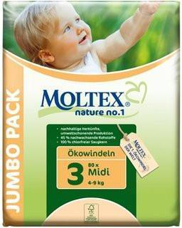 Moltex Midi Nappies - Size 3 (4-9 kg) - Jumbo 2-Pack (160 Nappies) - Naked Baby Eco Boutique - New Zealand Eco Friendly Organic Baby Products - 1