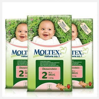 Moltex Mini Eco-Friendly Disposable Nappies - Size 2 (3-6 kg) - 3-Pack (126 Nappies) - Naked Baby Eco Boutique