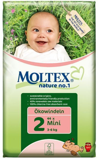 Moltex Mini Eco-Friendly Disposable Nappies - Size 2 (3-6 kg) - Single Pack (42 Nappies) - Naked Baby Eco Boutique