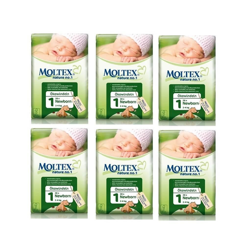 Moltex Newborn Nappies - Size 1 (2-4 kg) - 6-Pack (168 Nappies) - Naked Baby Eco Boutique