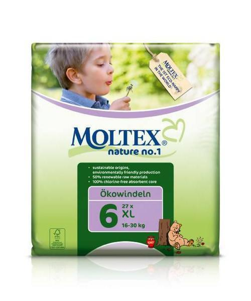 Moltex XL Nappies - Size 6 (16-30 kg) - Single Pack (27 Nappies) - Naked Baby Eco Boutique