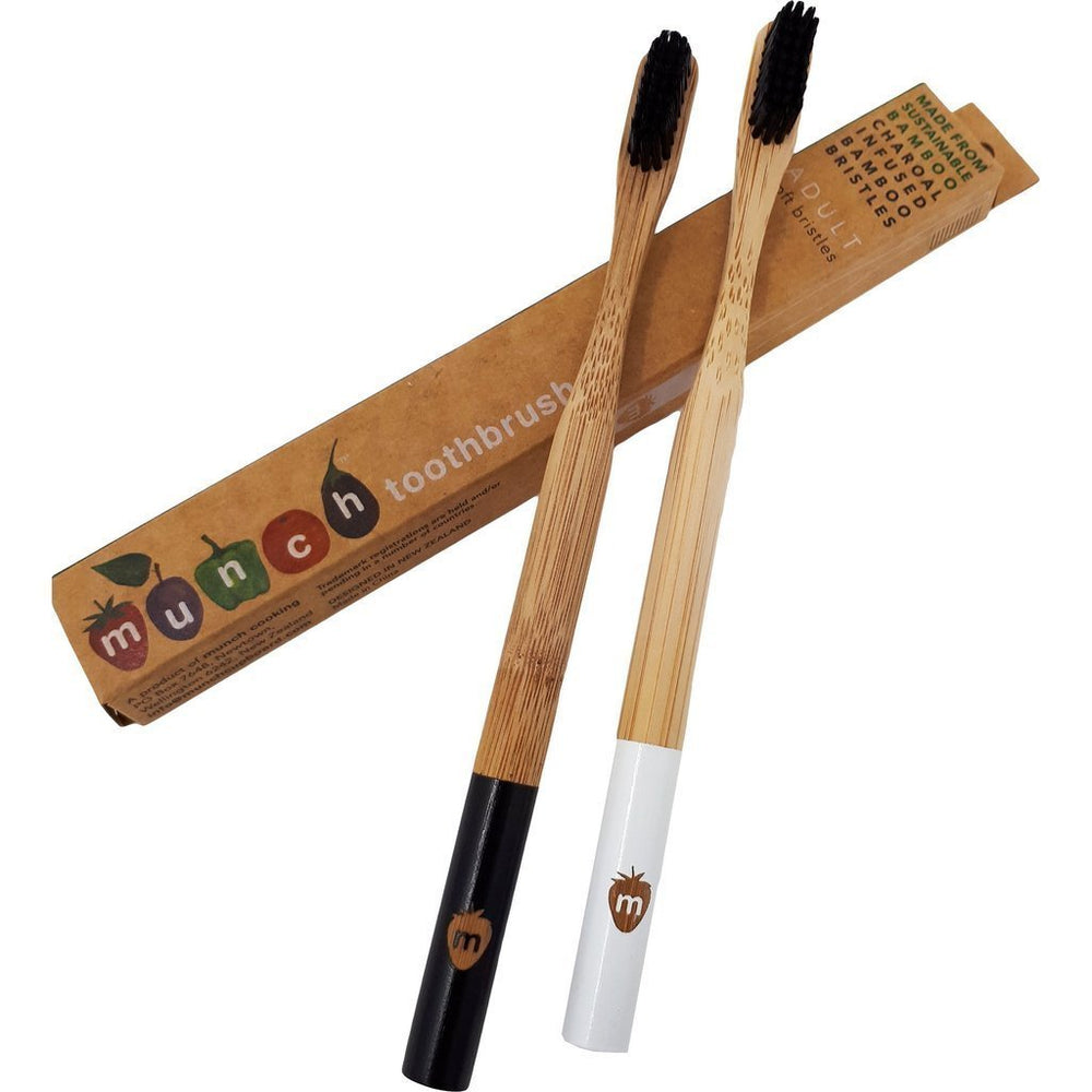 Black Munch Bamboo Toothbrush for Adults - Naked Baby Eco Boutique