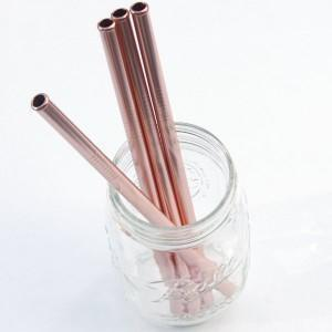 Rose Gold Munch Coloured Stainless Steel Reusable Drinking Straws (Multiple Variants) - Naked Baby Eco Boutique