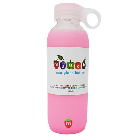 Pink Munch Glass Water Bottle - Naked Baby Eco Boutique