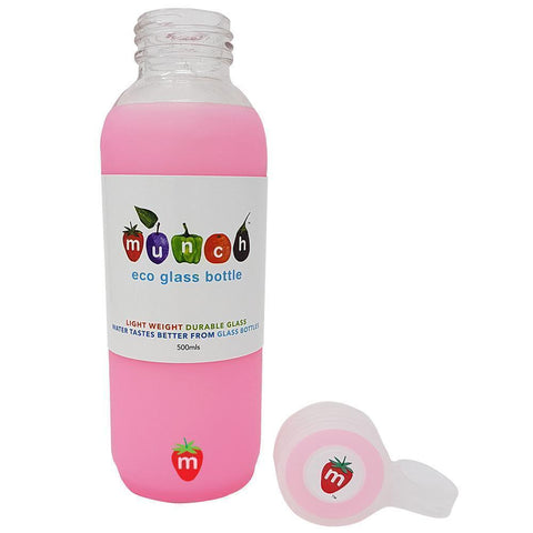 Pink Munch Glass Water Bottle with lid off