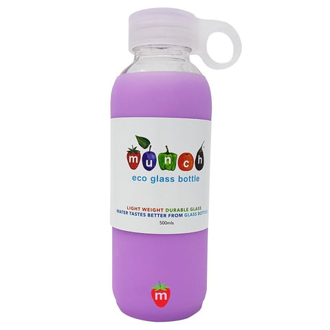 Purple Munch Glass Water Bottle - Naked Baby Eco Boutique