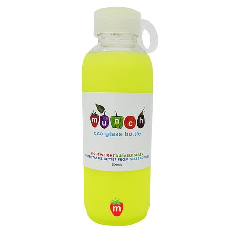 Yellow Munch Glass Water Bottle - Naked Baby Eco Boutique