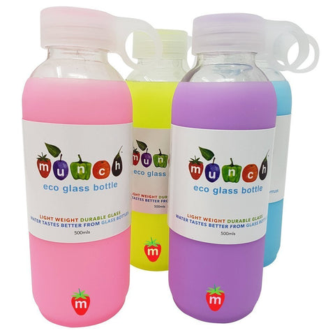 Munch Glass Water Bottles come in 4 great colours