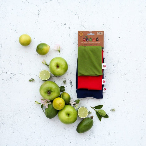 Munch Reusable Produce Bags come in a 3-pack and are great for shopping & storage