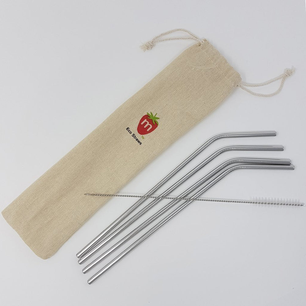 Munch Stainless Steel Reusable Drinking Straws come with 4 straws, organic cotton storage bag & cleaning brush