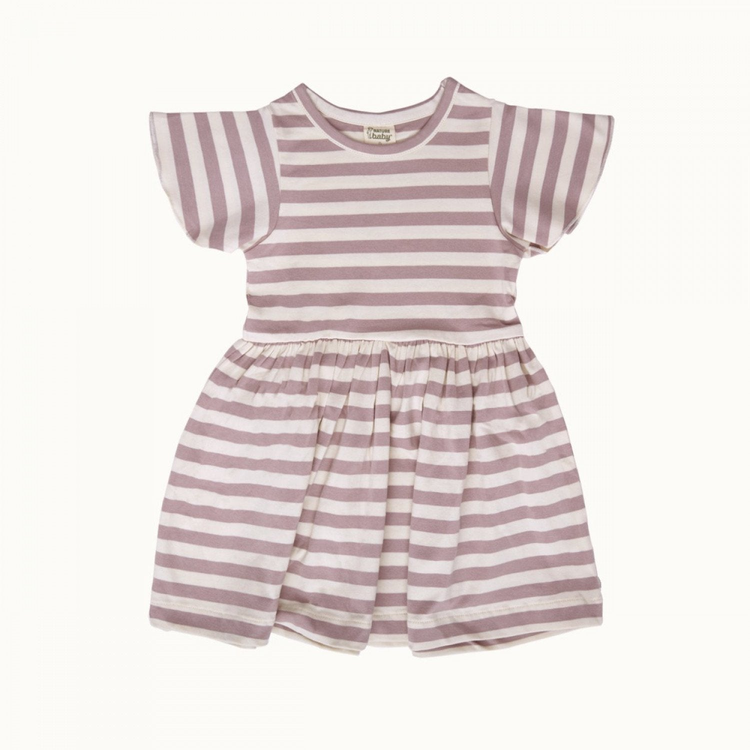 Lilac Sea Stripe / 6-12 Months Nature Baby Organic Cotton Petal Sleeve Dress (Multiple Variants) - Naked Baby Eco Boutique